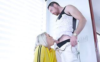 Blond wench shakes lubricated buttocks before bearded man fucks her