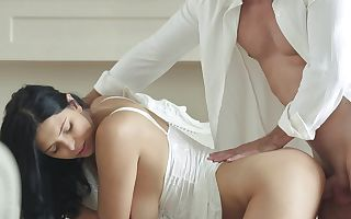 A busty princess with voiced knockers is bending over to take in a cock