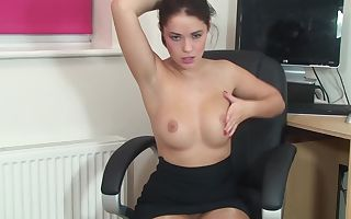 Brown haired hotty named Ava taunting her smooth pussy with a vibrator