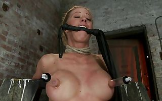 Elbows Bound, Knees On Hard Wood, Nipple Suction, Neck Rope, Breath Play, Face Fucking, Made To Cum - HogTied