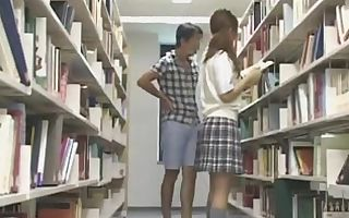 Bashful Schoolgirl groped and used in a library