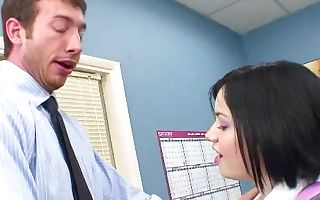 A nice girl is getting her lips wrapped around a hard-on