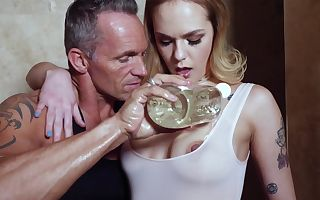 Older gentleman loves coating his lover in oil before stuffing her