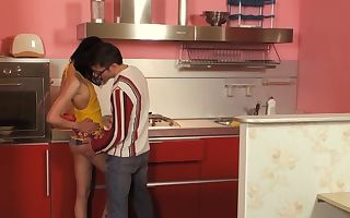 A fine tiny mega-slut is in the kitchen, getting her expressed pussy fucked